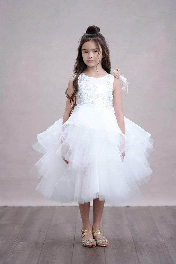 Tutu style Blush Flower Girl Dress with 3D rosettes