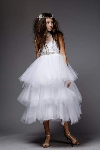 Tutu Style First Communion Dress with Sequin Removable Belt