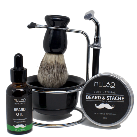Razor Shaving Brush Set, Beard Oil & Beard Stache Balm