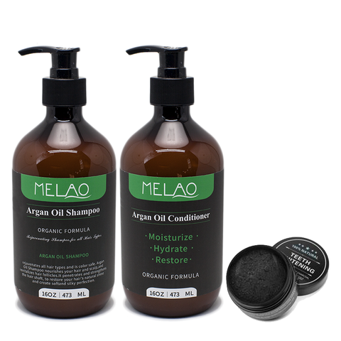 Melao Argan Oil Shampoo & Conditioner Teeth Charcoal Set