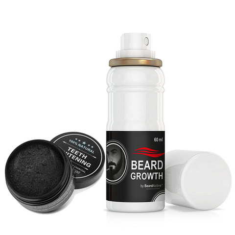 Beard Growth Spray & Teeth Whitening Charcoal set