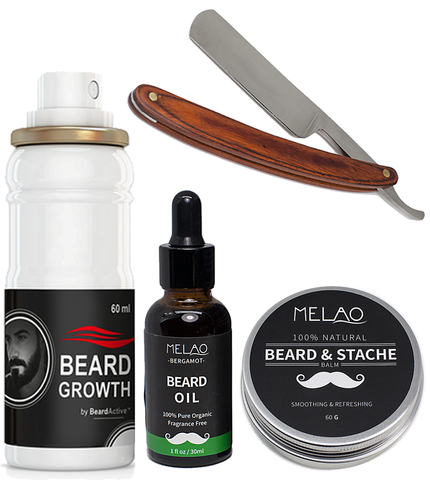 Beard Growth Spray, Beard oil, Beard Balm, Wooden Steel Straight Razor Set