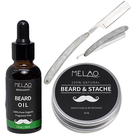 Beard Oil, Beard Balm & Master Marble Straight Razor Set