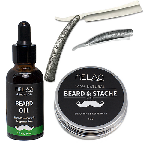 Beard Oil, Beard Balm & Acid Engraved Stainless Steel Straight Razor