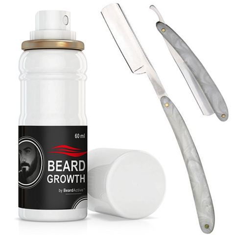 Master Marble Handle Straight Razor & Beard Growth Spray