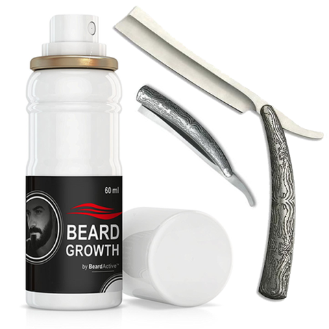 Acid Engraved Stainless Steel Straight Razor & Beard Growth Spray