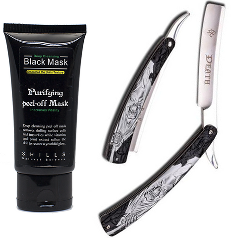 Dark Side Blades Straight Razor & Black Peel Off Mask