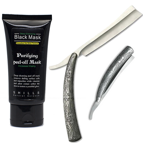 Acid Engraved Stainless Steel Straight Razor & Black Peel Off Mask