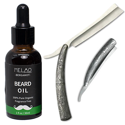 Acid Engraved Stainless Steel Straight Razor & Organic Beard Oil