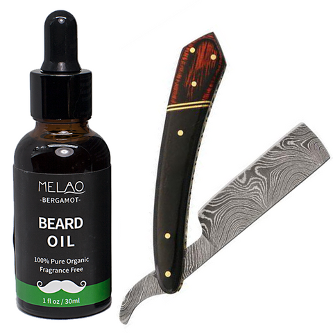 "6.25"" Rite Edge Damascus Straight Razor & Organic Beard Oil"