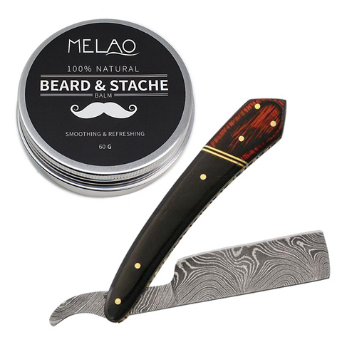 "6.25"" Rite Edge Damascus Straight Razor & Beard Balm"