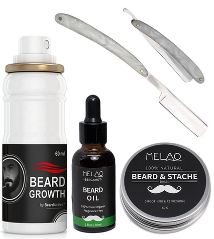 Master Marble Handle Straight Razor, Beard Growth Spray, Organic Beard Oil & Beard Balm