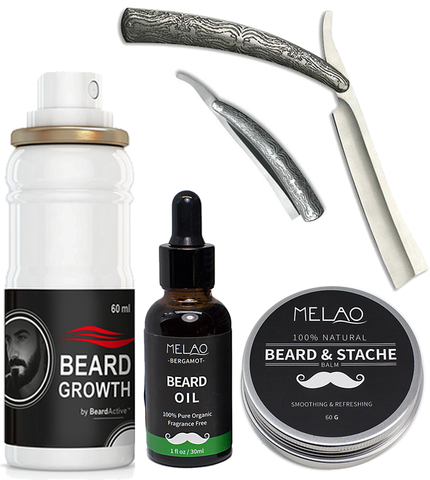 Beard Growth Spray, Beard Balm, Beard oil, & Acid Engraved Stainless Steel Straight Razor