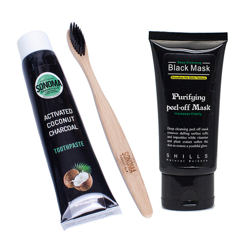 Sonoma Essentials™️Toothpaste, Bamboo Toothbrush & Black Mask Set