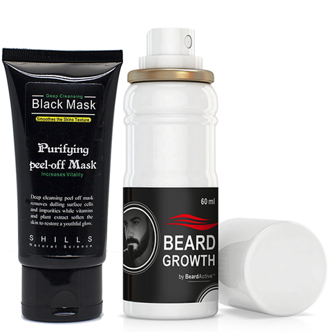 Beard Growth Spray & Black Peel Off Mask Set