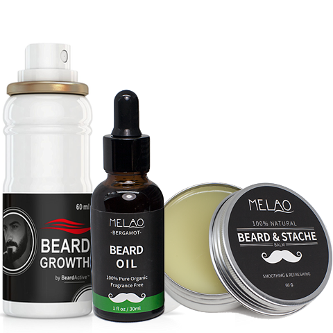 Beard Growth Spray, Beard oil, Beard & Stache Balm Set