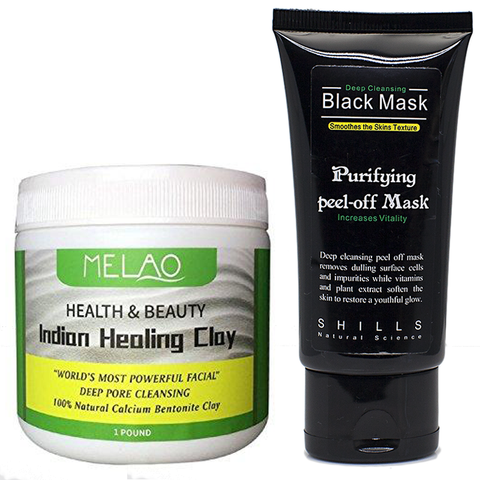 Indian Healing Clay & Black Peel Off Mask Set