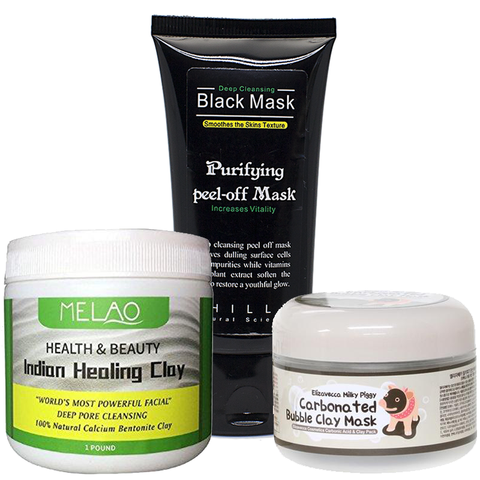 Indian Healing Clay, Black Peel Off Mask, & Bubble Clay Mask Set