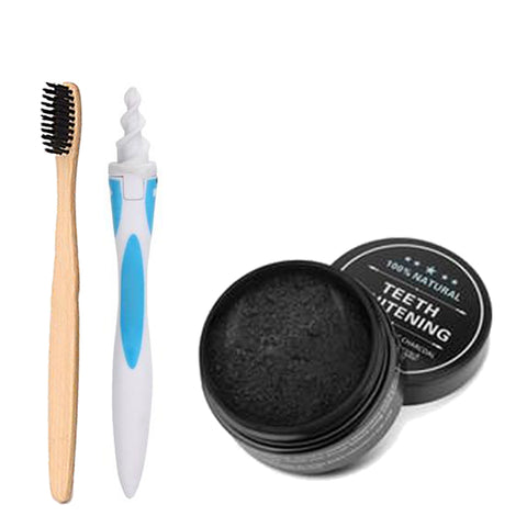 Spiral Ear Cleaner, Teeth Whitening Charcoal & Charcoal Bristle Toothbrush Set