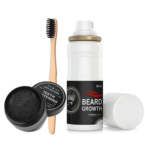 Beard Growth Spray, Teeth Whitening Charcoal & Charcoal Bristle Toothbrush