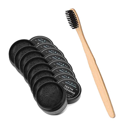 8 Pack Teeth Whitening Charcoal & Charcoal Bristle Toothbrush Set