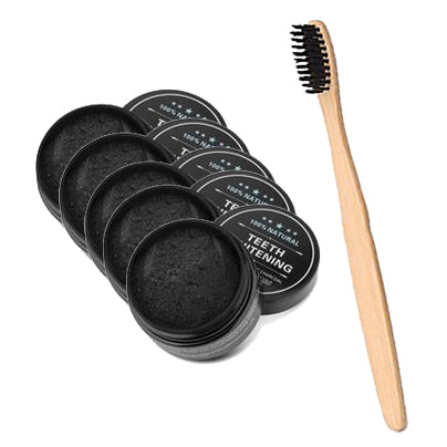 5 Pack Teeth Whitening Charcoal & Charcoal Bristle Toothbrush