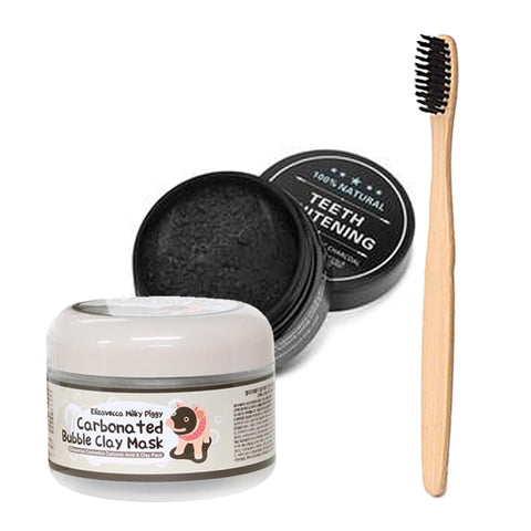 Bubble Clay Mask, Teeth Whitening Charcoal & Charcoal Bristle Toothbrush Set