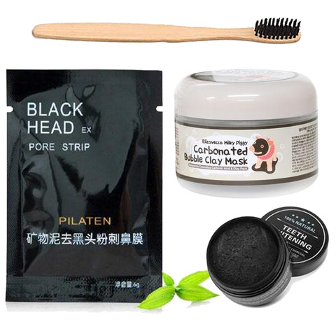 Bubble Clay Mask, Teeth Whitening Charcoal, Charcoal Bristle Toothbrush & Black Head Pore Strip