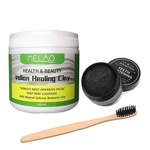 Indian Healing Clay, Teeth Whitening Charcoal & Charcoal Bristle Toothbrush Set