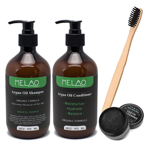 Argan Oil Shampoo & Conditioner, Teeth Whitening Charcoal & Charcoal Bristle Toothbrush Set