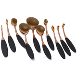 10 Piece Rose Gold Oval Makeup Brush Set