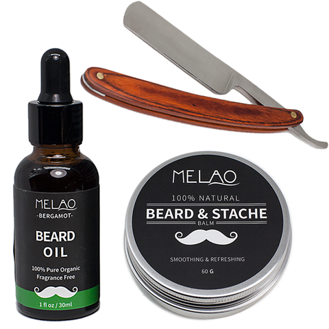 Melao Beard Balm, Oil & Wooden Handle Razor