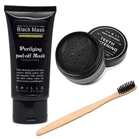 Black Mask, Mint Teeth Whitening Charcoal, & Charcoal Bristle ToothBrush
