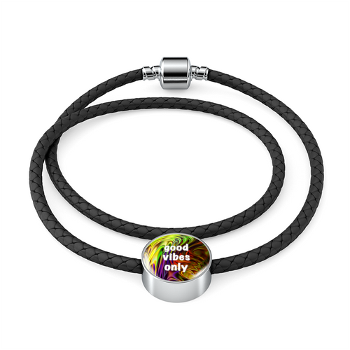 Good Vibes Only Leather Charm Bracelet