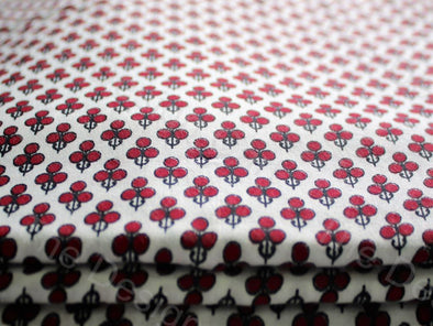 Wine Red Polka Dot Flower Design Cotton Rayon Fabric