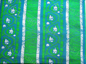Batik Blue Green Stripes Design Cotton Rayon Fabric