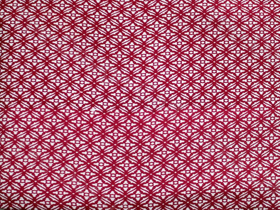 Wine Red White Flower Design Cotton Rayon Fabric