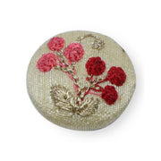 Fabric and Lace Well Finished Thread Embroidery Work With Beautiful Floral Design Buttons