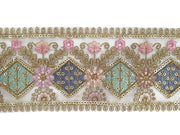 Beige Multicolour Floral Thread Zari and Sequins Work Embroidered Border | The Design Cart