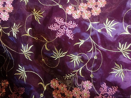 Purple Flower Design 10 Organza Fabric