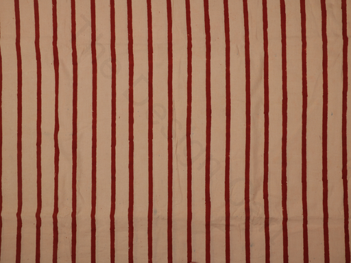 Off White Red Stripes Handblock Printed Cotton Fabric