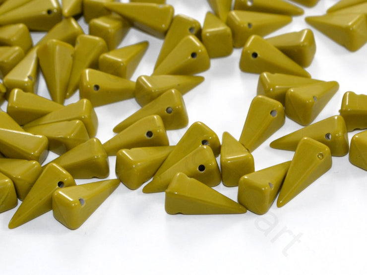 Green Pyramid Czech Glass Beads | The Design Cart
