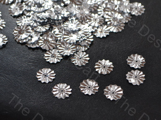Silver Circular Flower Shaped Plastic Sequins