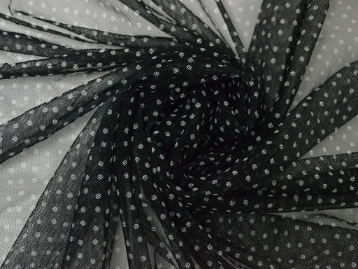 Black White Polka Dots Net Fabric