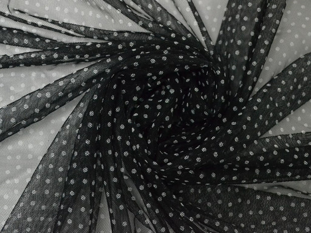 Black White Polka Dots Net Fabric | The Design Cart