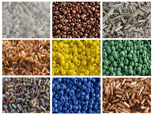 Assorted Round + Pipe Seed Beads Combo 2