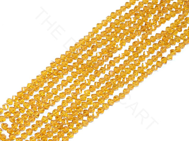 Golden Irregular Hexagonal / S-Cut Crystal Beads | The Design Cart