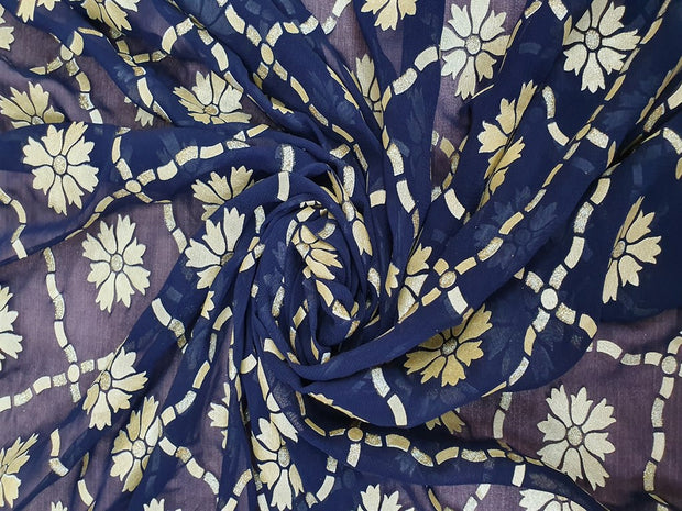 Navy Blue Argyle Floral Georgette Fabric | The Design Cart