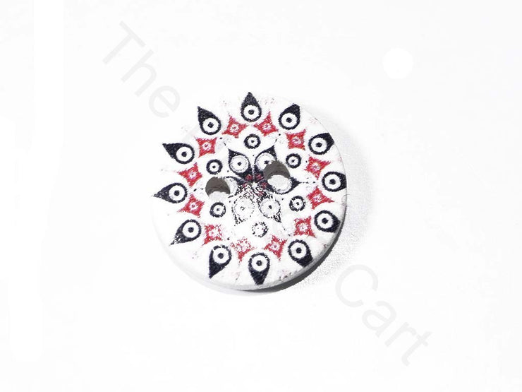 White Rangoli Design Wooden Buttons | The Design Cart (1722132561954)