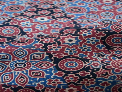 Red Blue Many Flowers Design Modal Silk Ajrak Fabric
